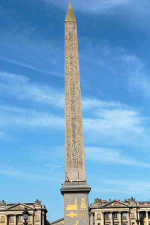 egypt revolution: Egyptian Luxor obelisk with hieroglyphics on Place de la Concorde. Stock Photo