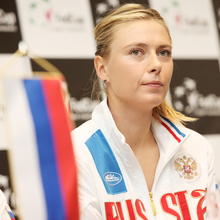 are fed: CRACOW, POLAND - FEBRUARY 4, 2015:   Maria Sharapova of Russia during press conference at Fed Cup Poland - Russia. Tauron Arena Cracow, Poland Editorial
