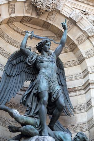 statues of Fountain Saint Michel in Paris