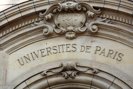 Sorbonne University in Paris. Name is derived from College de Sorbonne, founded in 1257 by Robert de Sorbon as one of the first colleges of medieval University in Paris. France
