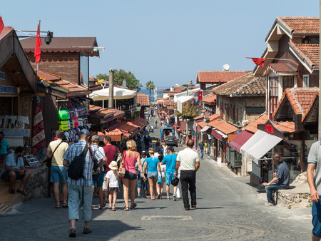 seaside town: Shopping street in the seaside town. Anatolian coast - a popular holiday destination in summer of European citizens. Editorial