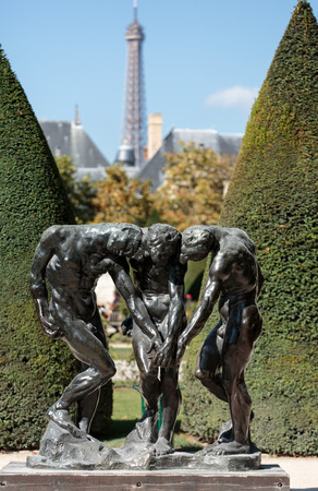 rodin: Paris - Museum Rodin. Sculpture of the Three Shades  inspired with Divine Comedy of Dante