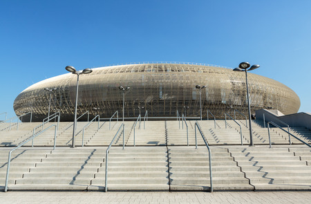 sports venue: CRACOW, POLAND - MARCH 17, 2015: Cracow - Tauron Arena Krakow is the biggest in Poland and one of the most modern in the world hall entertainment and sports venue. Cracow, Polan