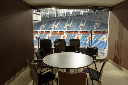 sports venue: CRACOVIA, Polonia - 17 de marzo 2015: Interior moderno. Tauron Arena Cracovia es el m�s grande de Polonia y uno de los m�s modernos de la sede sala mundo del espect�culo y el deporte. Interior moderno. Cracovia, Polonia Editorial