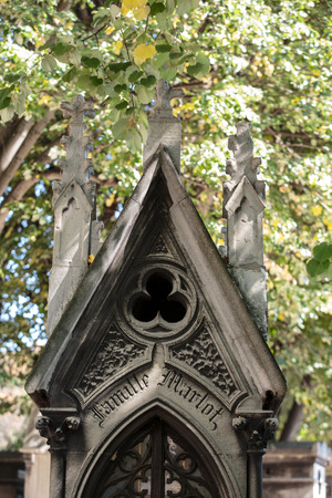 nostalgy: PARIS, FRANCE - SEPT 12, 2014: View of Pere Lachaise. Worlds most visited cemetery, attracting thousands of visitors to graves of those who have enhanced French life over past 200 years.