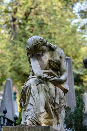 frederic chopin: PARIS, FRANCE - SEPT 12, 2014: Tomb of Frederic Chopin, famous Polish composer, at Pere Lachaise cemetery in Paris, France