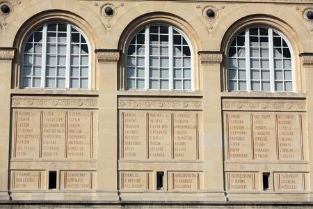 henri: Paris - Sainte-Geneviève Library.  public and university library in Paris. It was designed in Neo-Grec style by the architect Henri Labrouste (1801–1875). Place du Panthéon, Paris