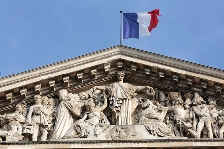pediment: Paris - The pediment of Pantheon.  Construction of the building started in 1757 and was finished in 1791
