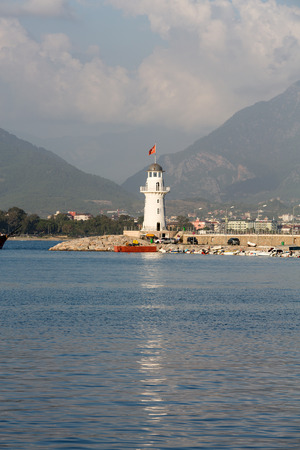 alanya: Lighthouse in the port of Alanya, Turkey. Stock Photo