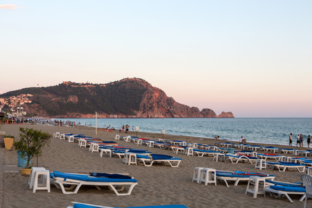 Alanya - Late afternoon on Cleopatra Beach. Alanya is one of most popular seaside resorts in Turkey