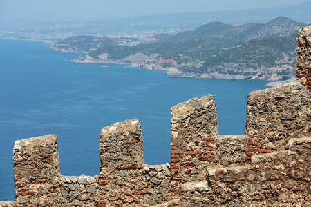 Ruins of Ottoman fortress in Alanya . Turkey. photo