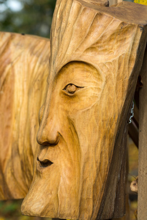 woodland sculpture: Fairy-like wooden figures from primaeval Slawic tales