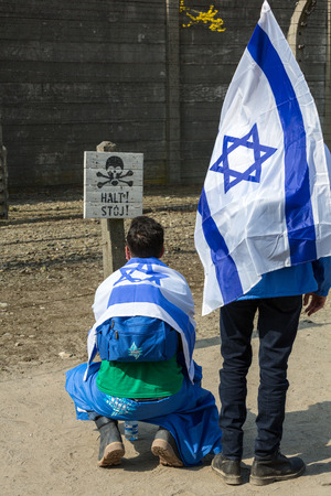 auschwitz memorial: OSWIECIM, POLAND - APRIL 16, 2015:   International Holocaust Remembrance Day . Annually people from the all the world meets on the March of the Living in german Concentration Camp in Auschwitz Birkenau. Poland