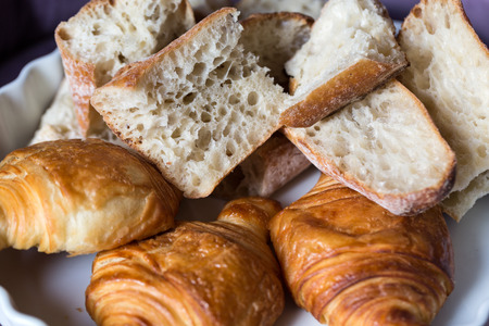 baguet: breakfast with ttree croissants and baguette Editorial