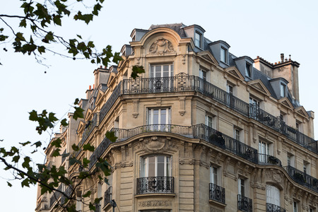 garret: corner of of typical house with balcony in Paris, France
