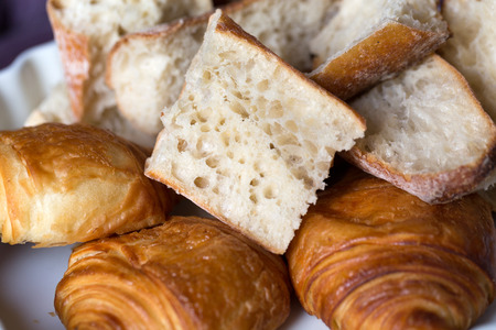 baguet: breakfast with ttree croissants and baguette Stock Photo