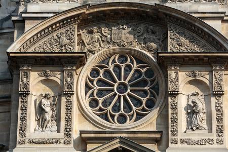 patron: Church of Saint-Etienne-du-Mont in Paris near Pantheon. It contains shrine of St. Genevieve - patron saint of Paris Editorial