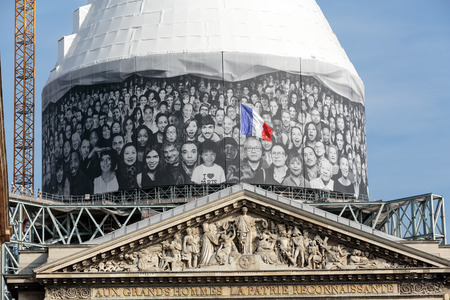 pediment: Paris - The pediment of Pantheon against the background of repaired dome.  Construction of the building started in 1757 and was finished in 1791