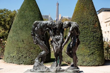 Paris - Museum Rodin. Sculpture of the Three Shades  inspired with Divine Comedy of Dante