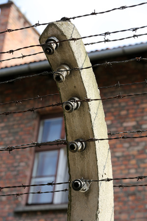 nazi: Electric fence in former Nazi concentration camp Auschwitz I, Poland
