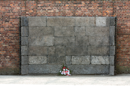 concentration camp: the Death Wall, Auschwitz-Birkenau concentration camp, Poland Editorial