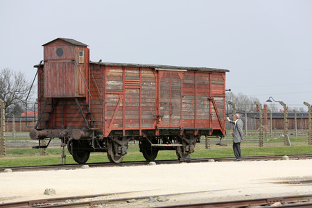 birkenau: Deportation wagon at Auschwitz Birkenau at Auschwitz Birkenau concentration camp, Poland