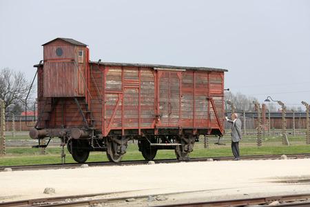 auschwitz memorial: Deportation wagon at Auschwitz Birkenau at Auschwitz Birkenau concentration camp, Poland