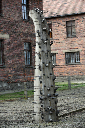 death camp: Electric fence in former Nazi concentration camp Auschwitz I, Poland