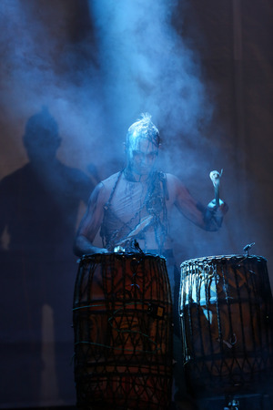 slavic: KRAKOW, POLAND - JUNE 20, 2014: The night of the Music on Szczepanski Square in Cracow. Slavic Prelude perfomed by WATAHA  Slavic Drummers and Art Color Ballet shows to the modern viewer colorfull archetype of the Slavic world, full of magic