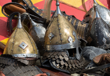 medieval sword: Cracow, Poland. Knight camp during the traditional Medieval festival Stock Photo