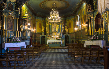 polska monument: PODSTOLICE, CRACOW, POLAND - JUNE 30, 2015: Interior of the wooden antique church in Podstolice near Cracow. Poland