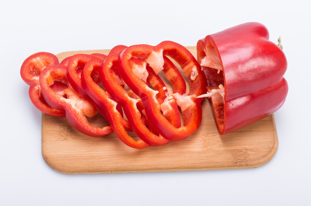 pimiento: Sliced red pepper isolated on white background