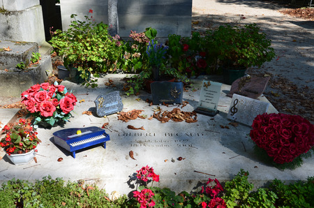 gilbert: PARIS, FRANCE - SEPT 12, 2014: Gilbert Becaud grave in Pere-Lachaise cemetery, Paris, France