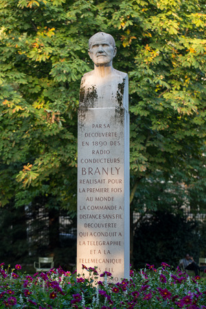 Paris - Luxembourg Gardens. Monument of Edouard Branly Editorial