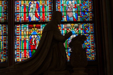 notre dame cathedral: Stained glass windows inside the Notre Dame Cathedral, UNESCO World Heritage Site. Paris, France