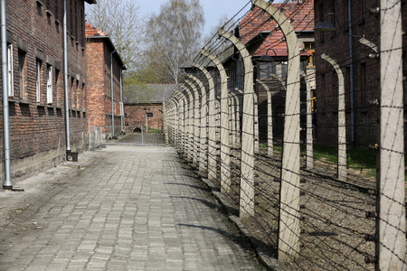 auschwitz: Electric fence in former concentration camp Auschwitz I, Poland Editorial