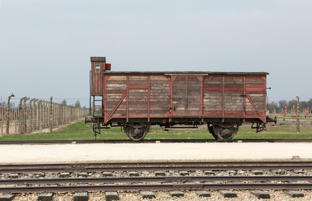 concentration camp: Deportation wagon at Auschwitz Birkenau at Auschwitz Birkenau concentration camp, Poland