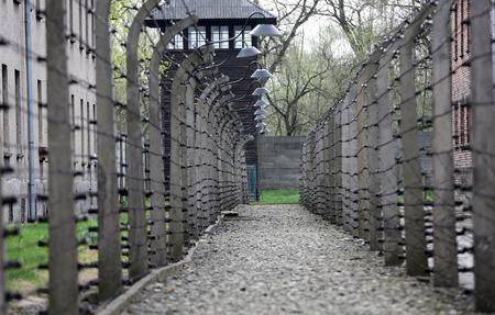 elektrischer Zaun: Electric fence in former German concentration camp Auschwitz I, Poland Editorial