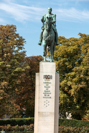marshal: A statue of Marshal Ferdinand Foch (1938) in Paris, France. Foch was a French soldier and the Allied Generalissime during the First World War.