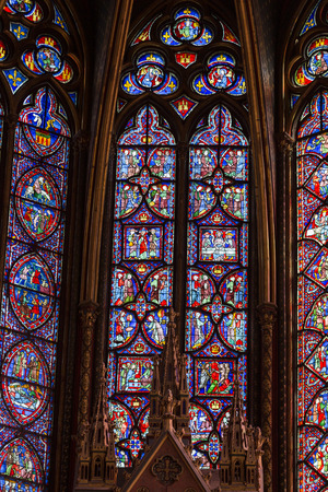 ile de la cite: Paris - Interiors of the Sainte-Chapelle (Holy Chapel). The Sainte-Chapelle is a royal medieval Gothic chapel in Paris and one of the most famous monuments of the city