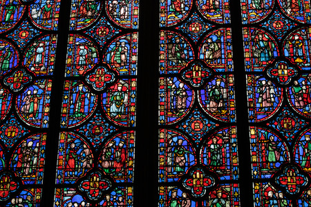 church window: Paris - Interiors of the Sainte-Chapelle (Holy Chapel). The Sainte-Chapelle is a royal medieval Gothic chapel in Paris and one of the most famous monuments of the city