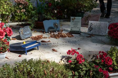 gilbert: PARIS, FRANCE - SEPT 12, 2014: Gilbert Becaud grave in Pere-Lachaise cemetery, Paris, France
