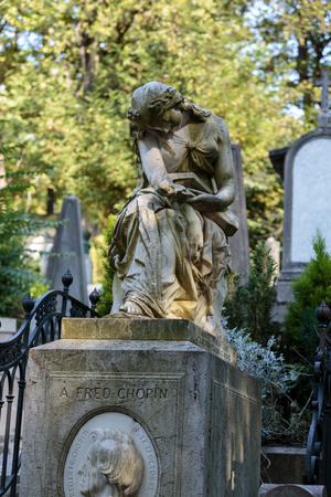 PARIS, FRANCE - SEPT 12, 2014: Tomb of Frederic Chopin, famous Polish composer, at Pere Lachaise cemetery in Paris, France