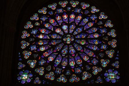 Parijs, de Notre Dame. Zuid-transept roosvenster.