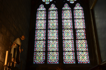 stained glass windows: Stained glass windows inside the Notre Dame Cathedral