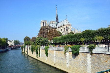 notre dame: The cathedral of Notre Dame in Paris in France Stock Photo