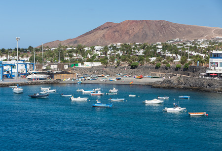 furled: Fishing boats in Puerto del Carmen, Canary Island Lanzarote.Spain