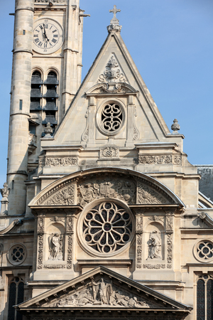 patron: Church of Saint-Etienne-du-Mont in Paris near Pantheon. It contains shrine of St. Genevieve - patron saint of Paris Stock Photo