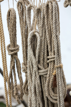 fastening objects: Close-up of rope with knot Stock Photo
