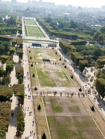 champ: Aerial View on Champ de Mars and Invalides from the Eiffel Tower, Paris, France